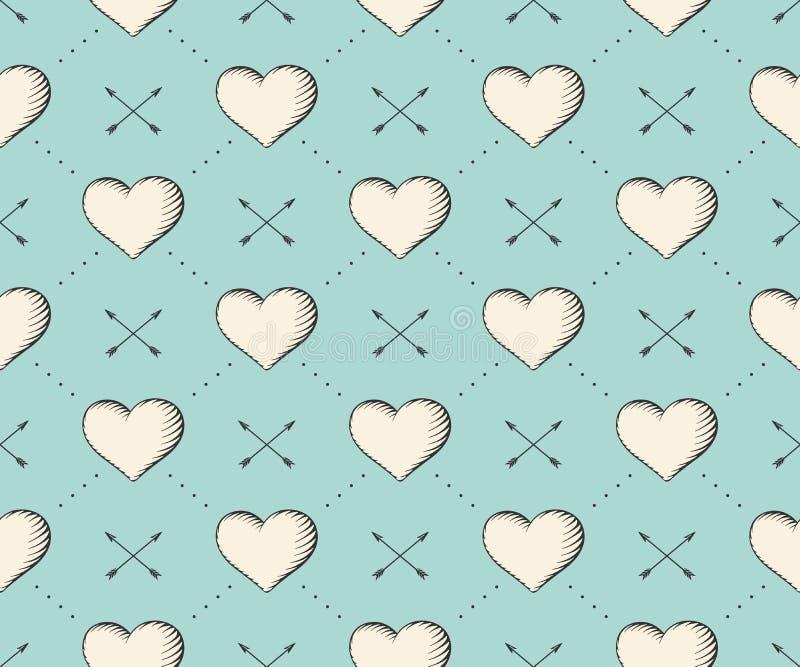 Безшовная картина с сердцем и стрелки в винтажной гравировке стиля на предпосылке бирюзы на день валентинки вычерченная рука иллюстрация штока