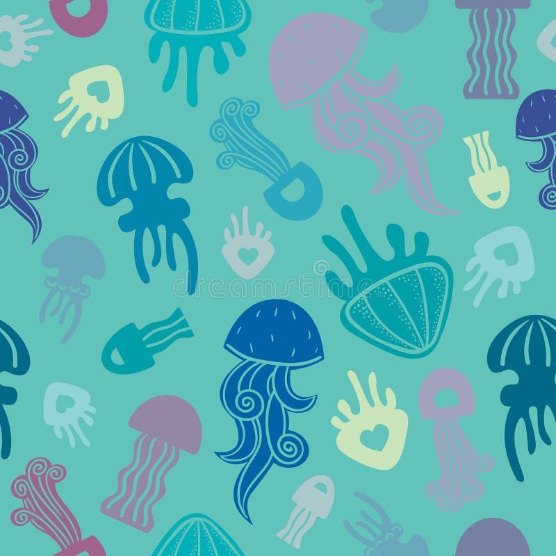Безшовная картина с медузами стоковое изображение