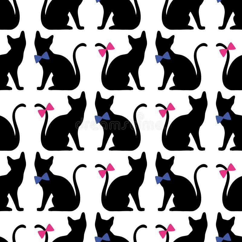 Безшовная картина с силуэтом черного кота Предпосылка вектора бесплатная иллюстрация