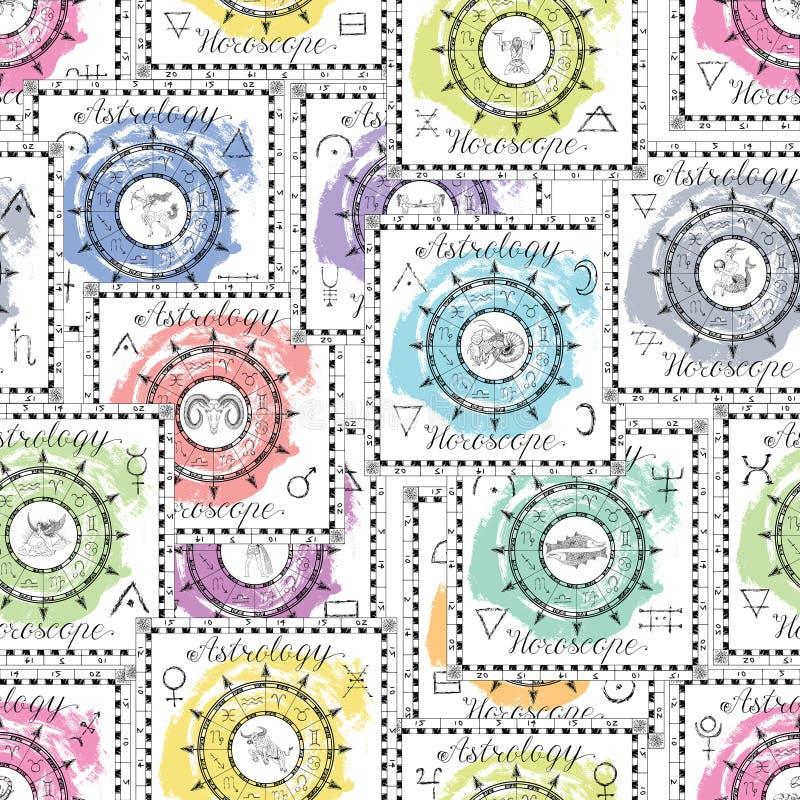 Безшовная картина с символами зодиака на картине голубой текстуры backgroundSeamless с красочными диаграммами зодиака бесплатная иллюстрация