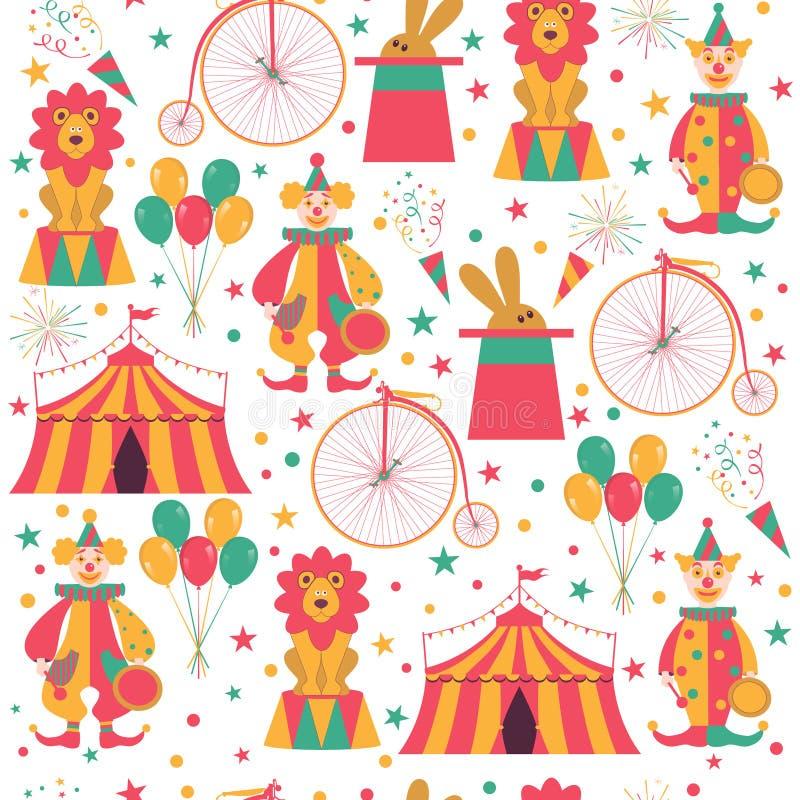 Безшовная картина с символами цирка иллюстрация штока