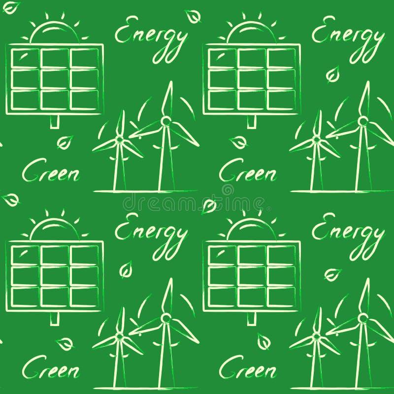 Безшовная картина с символами энергии eco иллюстрация вектора