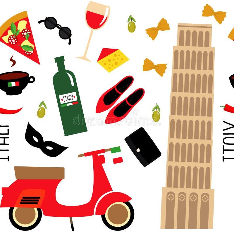 Безшовная картина с символами шаржа итальянскими - башня Пизы, ретро самокат, красное вино, кофе, пицца, макаронные изделия, сыр, иллюстрация штока