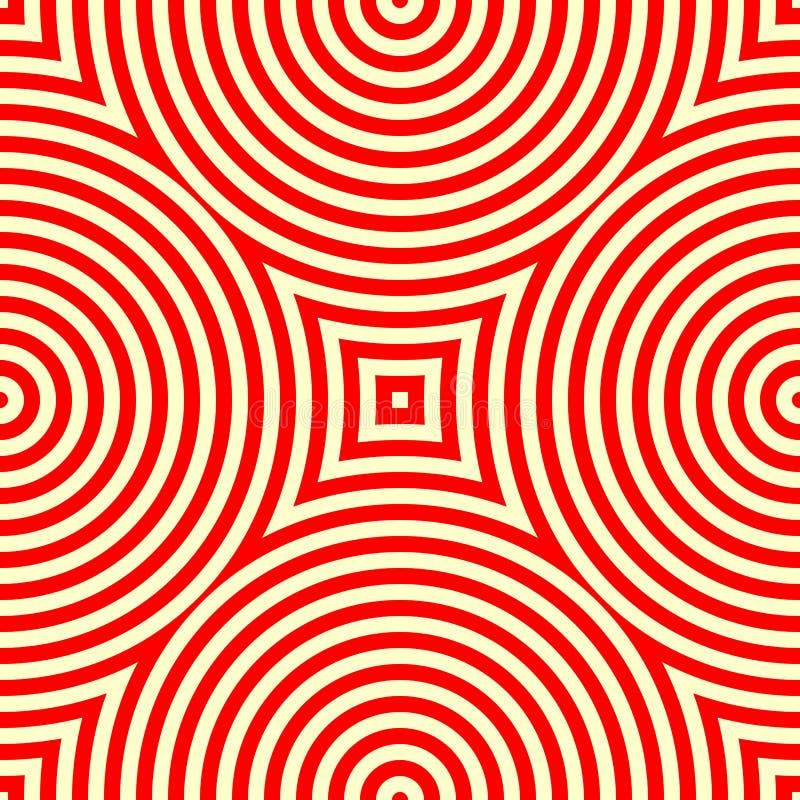 Безшовная картина с симметричным геометрическим орнаментом Предпосылка калейдоскопа красная белая абстрактная иллюстрация вектора