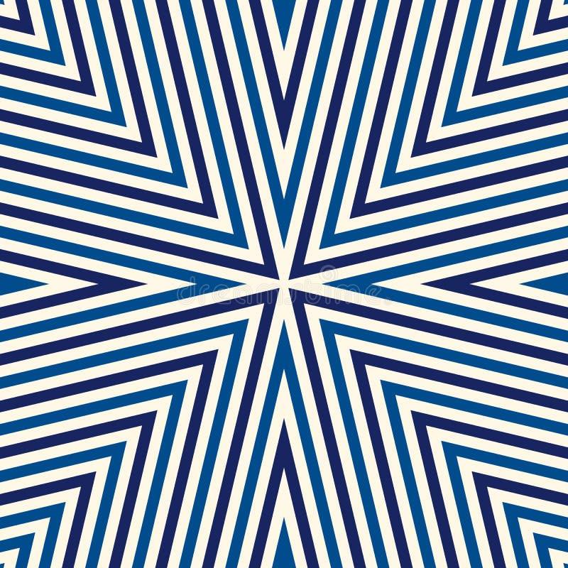 Безшовная картина с симметричным геометрическим орнаментом Striped голубая белая абстрактная предпосылка бесплатная иллюстрация