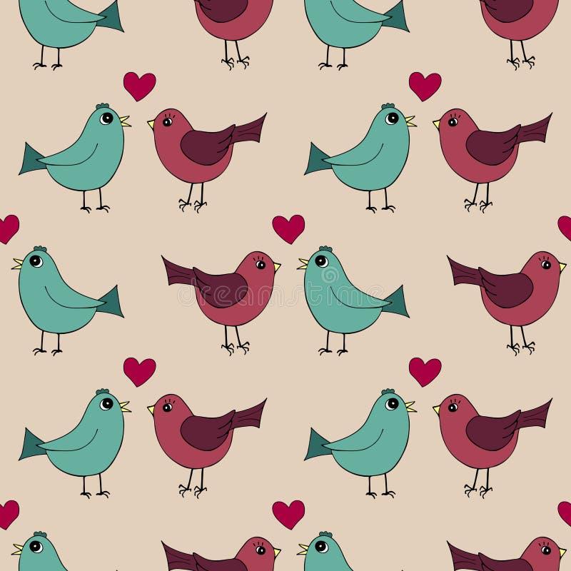 Безшовная картина с симпатичными нарисованными вручную птицами в влюбленности иллюстрация штока