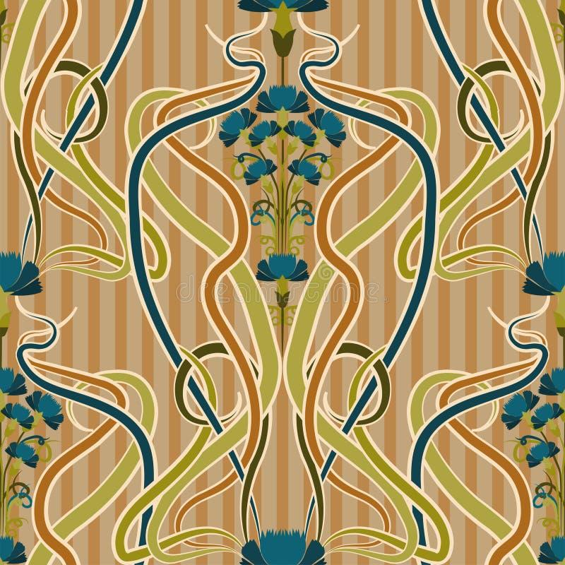 Безшовная картина с синью cornflower в стиле nouveau искусства, векторе бесплатная иллюстрация