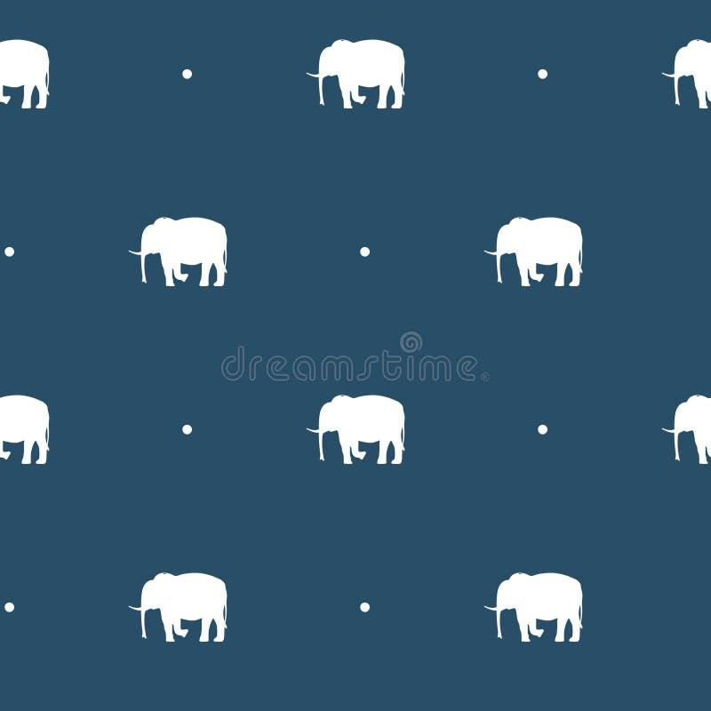 Безшовная картина с силуэтами слонов и точек польки на предпосылке сини военно-морского флота бесплатная иллюстрация
