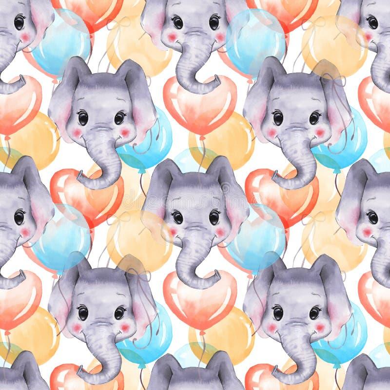 Безшовная картина с слонами и воздушными шарами иллюстрация вектора