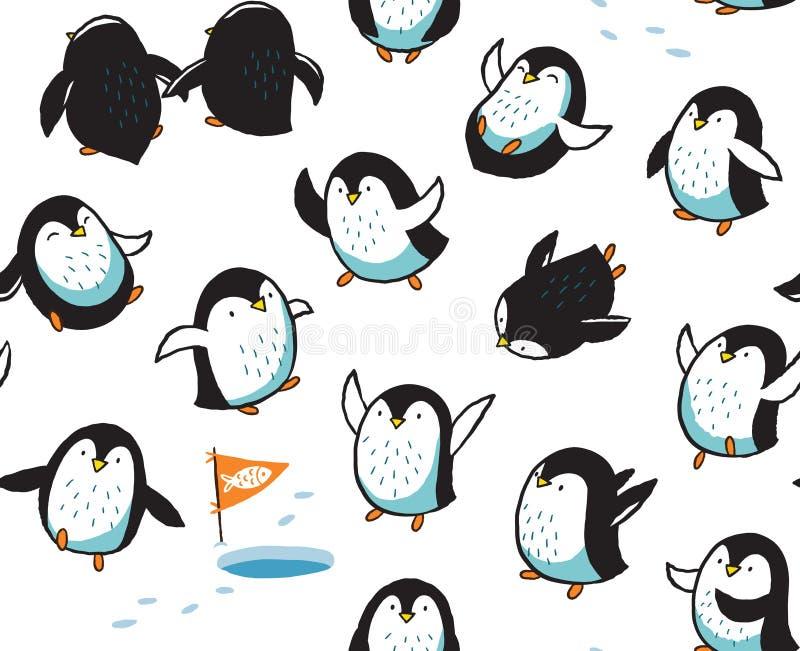 Безшовная картина с смешной пингвинами нарисованными рукой иллюстрация вектора