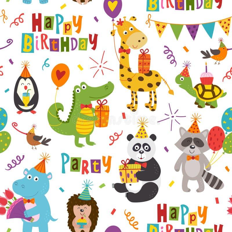 Безшовная картина с смешными животными с днем рождения на белой предпосылке иллюстрация вектора