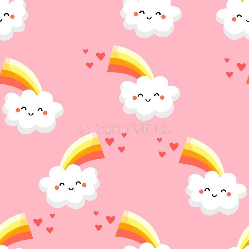 Безшовная картина с смешными облаками, радугой и сердцами на розовой предпосылке Орнаментируйте для тканей и оборачивать ` s дете иллюстрация вектора