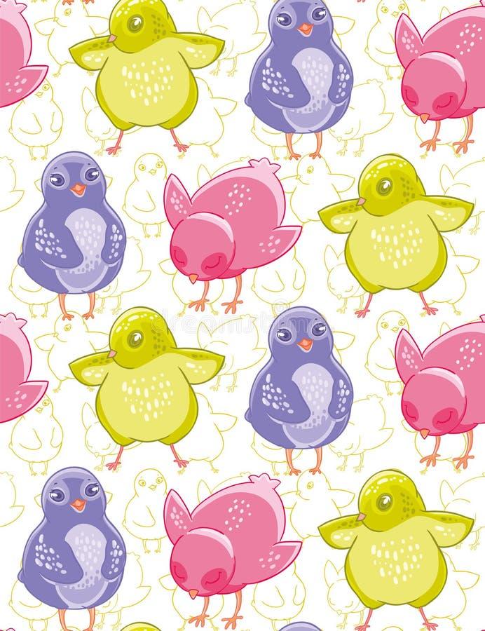 Безшовная картина с смешными фиолетовыми, розовыми и зелеными цыплятами шаржа иллюстрация вектора