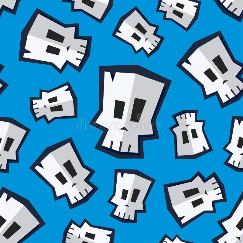 Безшовная картина с смешным черепом шаржа стоковые изображения