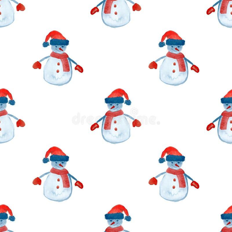 Безшовная картина с снеговиком для дизайна зимних отдыхов иллюстрация вектора