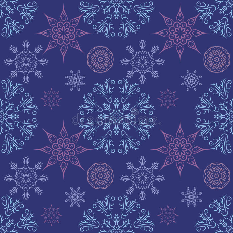 Безшовная картина с снежинками мандал в красивых цветах для вашего дизайна Предпосылка вектора бесплатная иллюстрация
