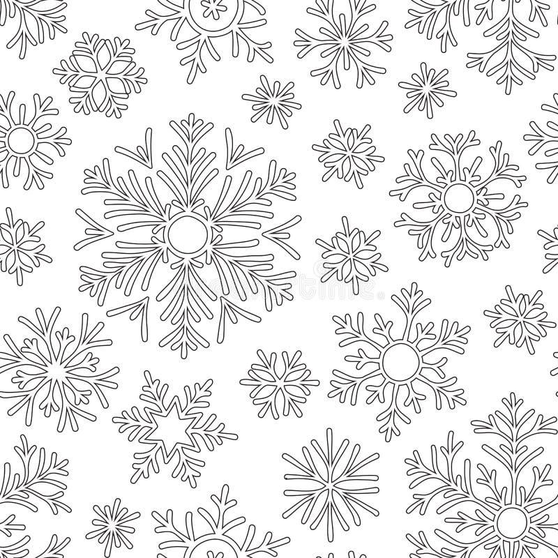 Безшовная картина с снежинками рождества зимы Нарисованный вручную для книжка-раскраски черная белизна иллюстрация вектора
