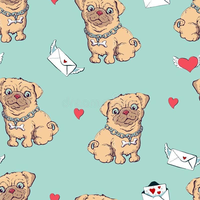 Безшовная картина с собаками, ребяческая картина с собаками, печать текстильной ткани вектора бесплатная иллюстрация