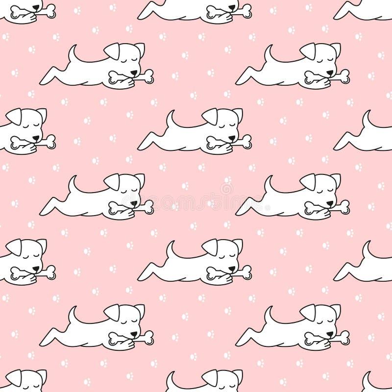 Безшовная картина с собаками шаржа на розовой предпосылке иллюстрация штока