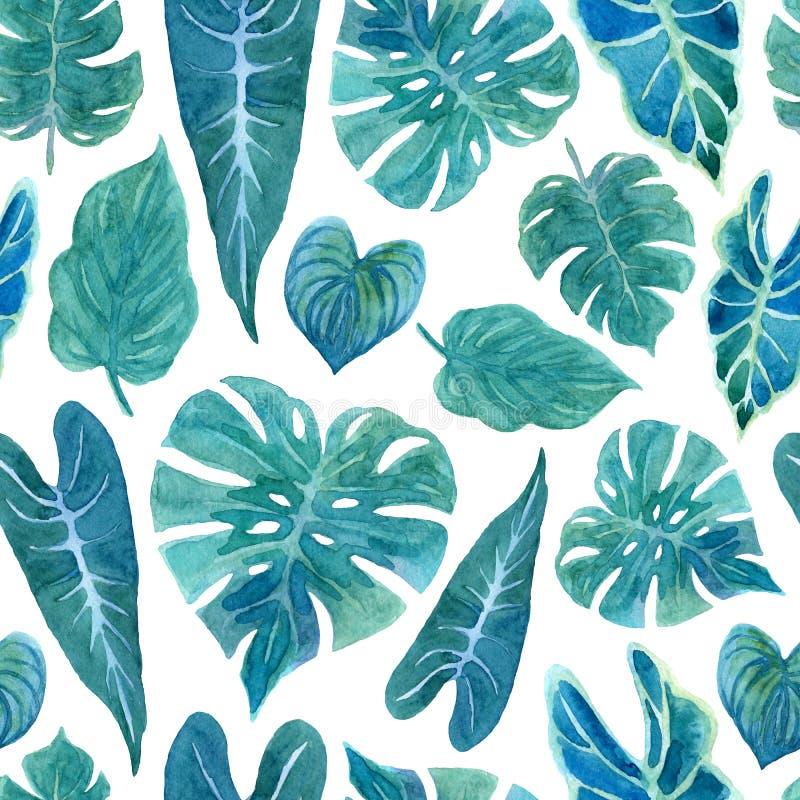 Безшовная картина с сочной растительностью тропических заводов иллюстрация штока