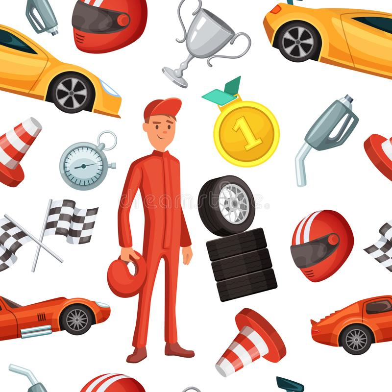 Безшовная картина с спортивными машинами гонщика и гонок Иллюстрации спорта вектора иллюстрация вектора
