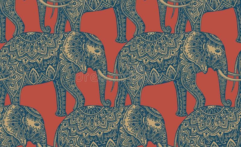 Безшовная картина с стилизованными орнаментальными слонами в индийском st иллюстрация вектора