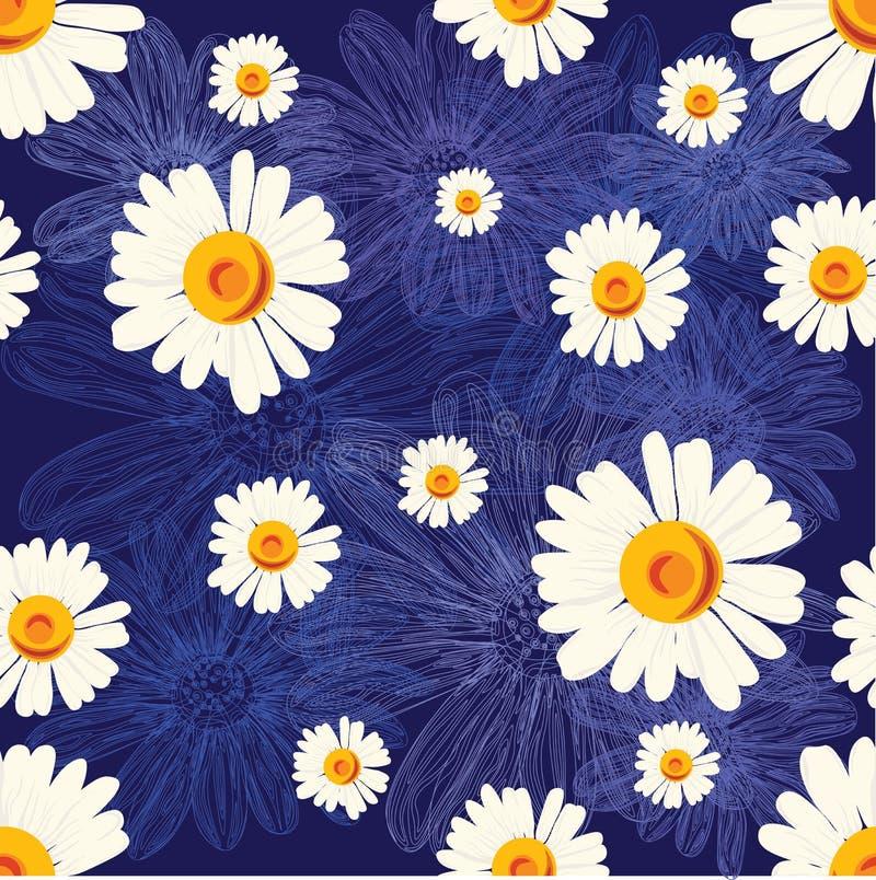 Безшовная картина с стоцветами на голубой предпосылке с выровнянными цветками стоковое изображение
