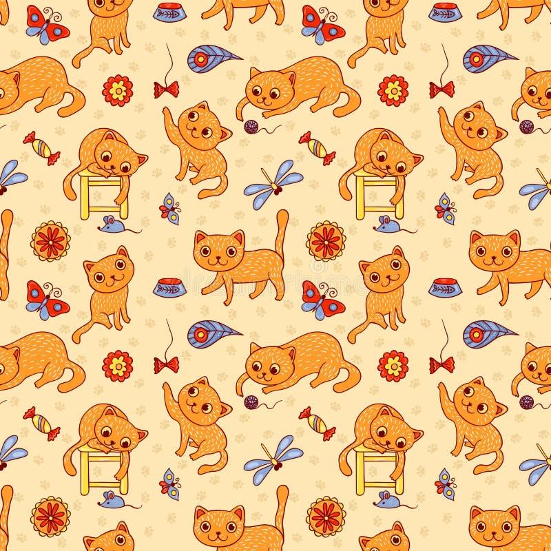 Безшовная картина с счастливыми играя красными котами иллюстрация штока