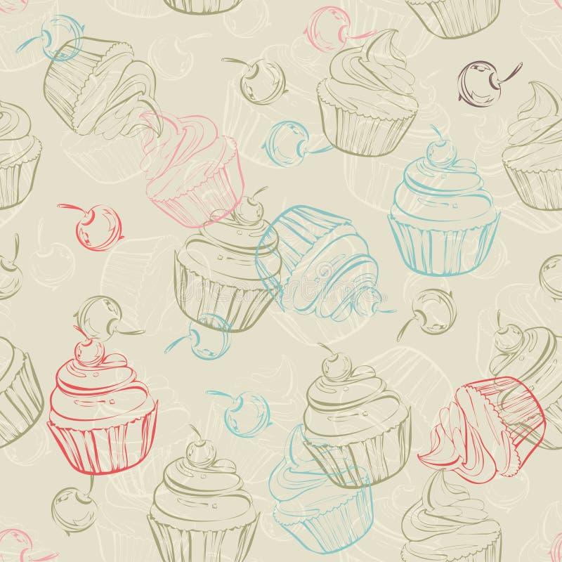 Безшовная картина с сладостными пирожными и ягодами в винтажном стиле венчание сети шаблона страницы приветствию карточки предпос иллюстрация штока