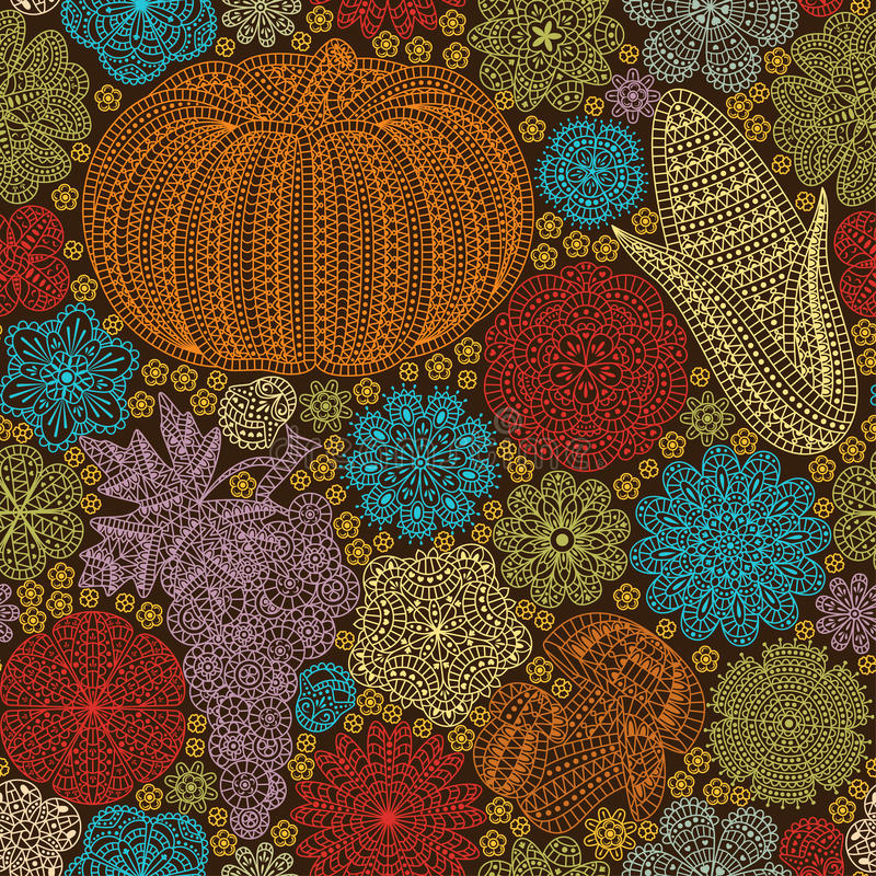 Безшовная картина с творческими овощами и цветками, декоративной флористической предпосылкой бесплатная иллюстрация
