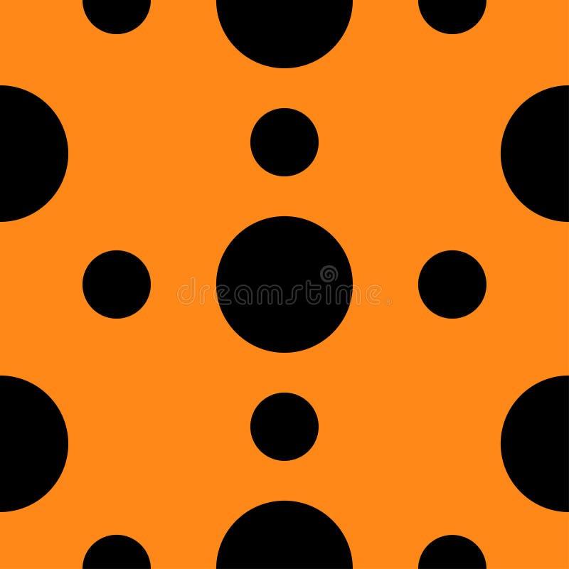 Безшовная картина с текстурой точек польки черноты круга геометрической абстрактной Померанцовая предпосылка Плоский дизайн бесплатная иллюстрация