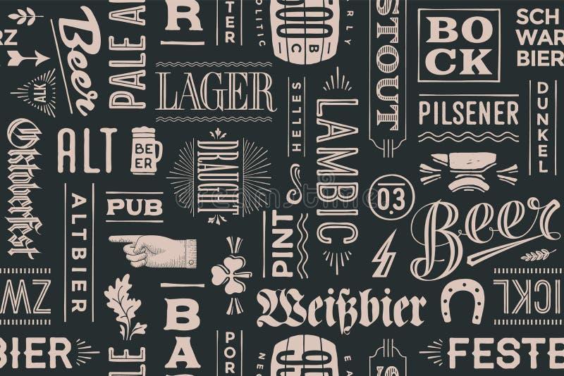 Безшовная картина с типами пива и нарисованной рукой литерности бесплатная иллюстрация