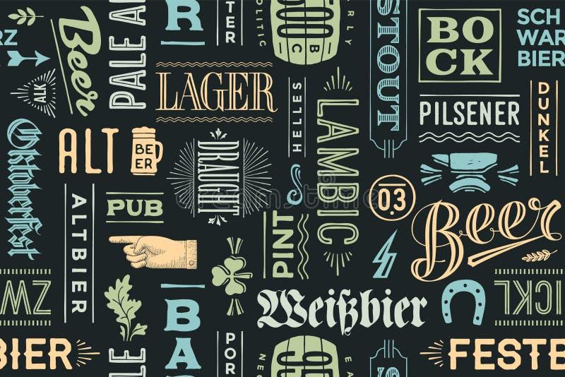 Безшовная картина с типами пива и нарисованной рукой литерности иллюстрация вектора