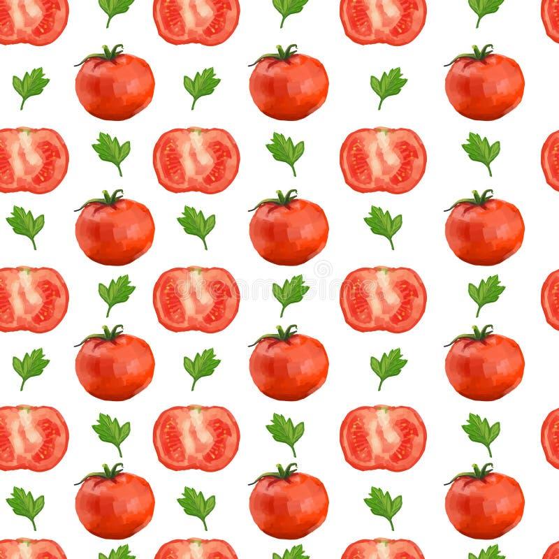 Безшовная картина с томатами и петрушкой иллюстрация штока