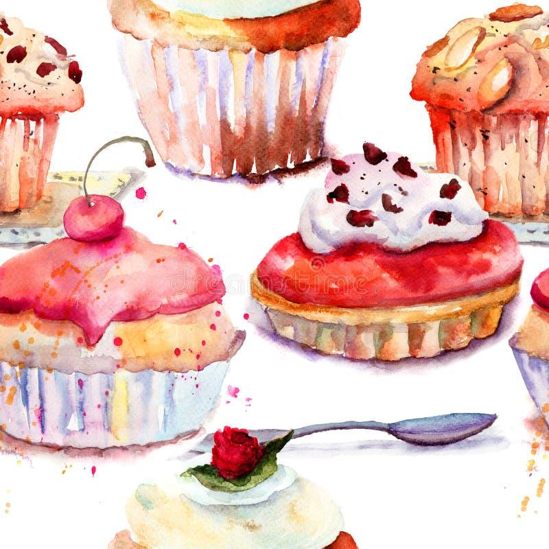 Безшовная картина с тортом иллюстрация вектора
