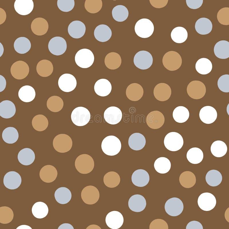 Безшовная картина с точками польки цвета Разбросанные круги нарисованные вручную иллюстрация вектора
