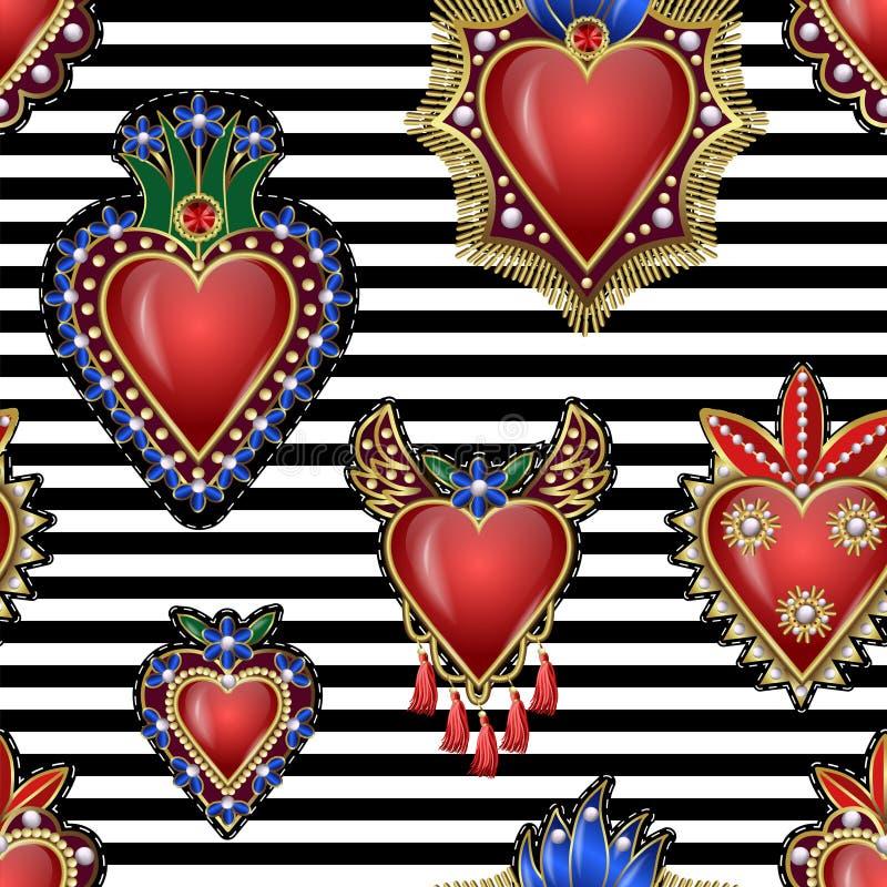 Безшовная картина с традиционными мексиканскими сердцами с огнем и цветками, вышитыми sequins, шариками и жемчугами Заплаты векто иллюстрация вектора