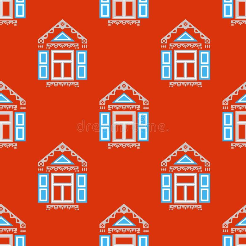 Безшовная картина с традиционными русскими окнами стоковые фотографии rf