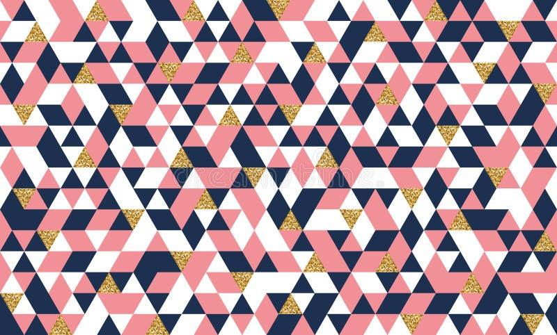 Безшовная картина с треугольниками золота яркого блеска иллюстрация штока