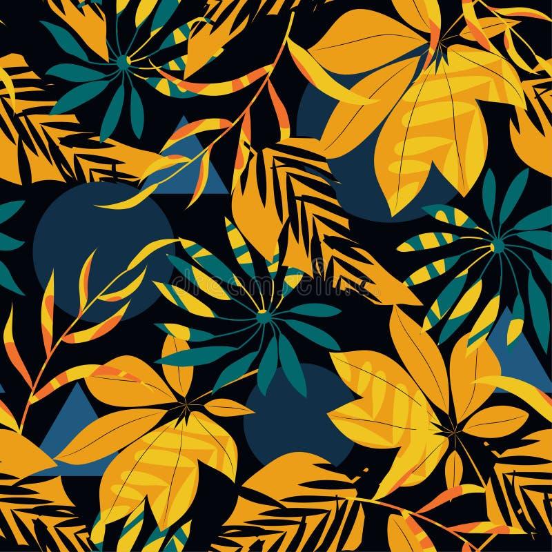 Безшовная картина с тропическими заводами и абстракция на черной предпосылке o Печать джунглей Ткани и печатание бесплатная иллюстрация