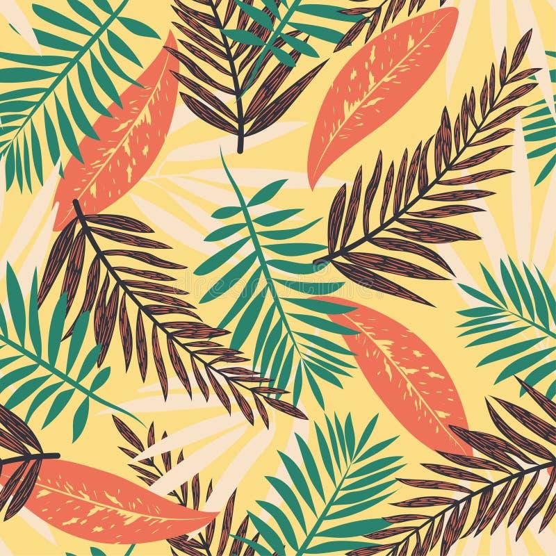 Безшовная картина с тропическими заводами на темной желтой предпосылке o Печать джунглей Печатание и ткани бесплатная иллюстрация