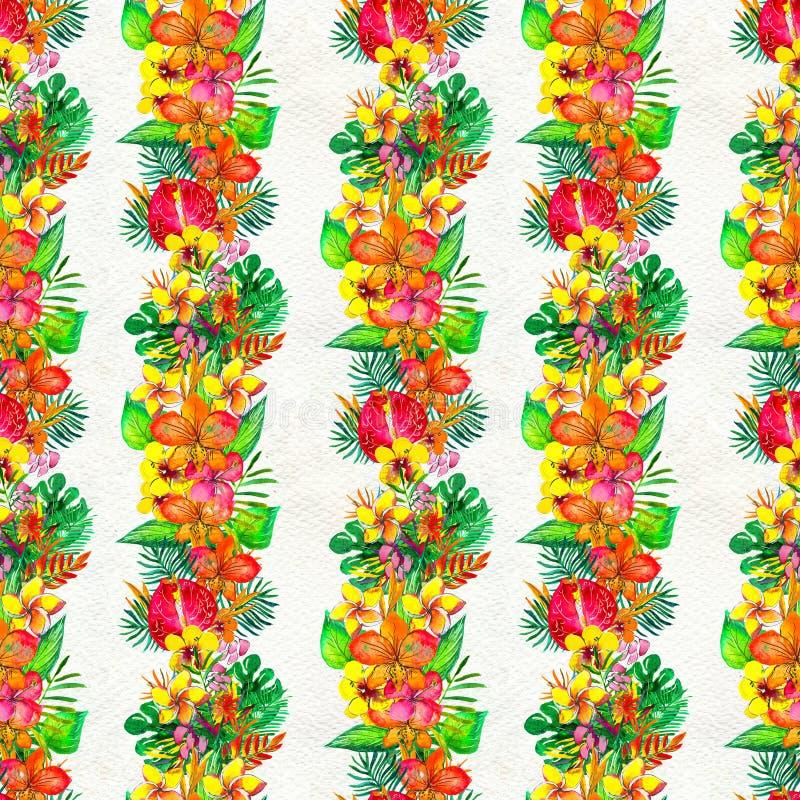 Безшовная картина с тропическими цветками желтый цвет акварели стародедовской предпосылки темный бумажный иллюстрация вектора