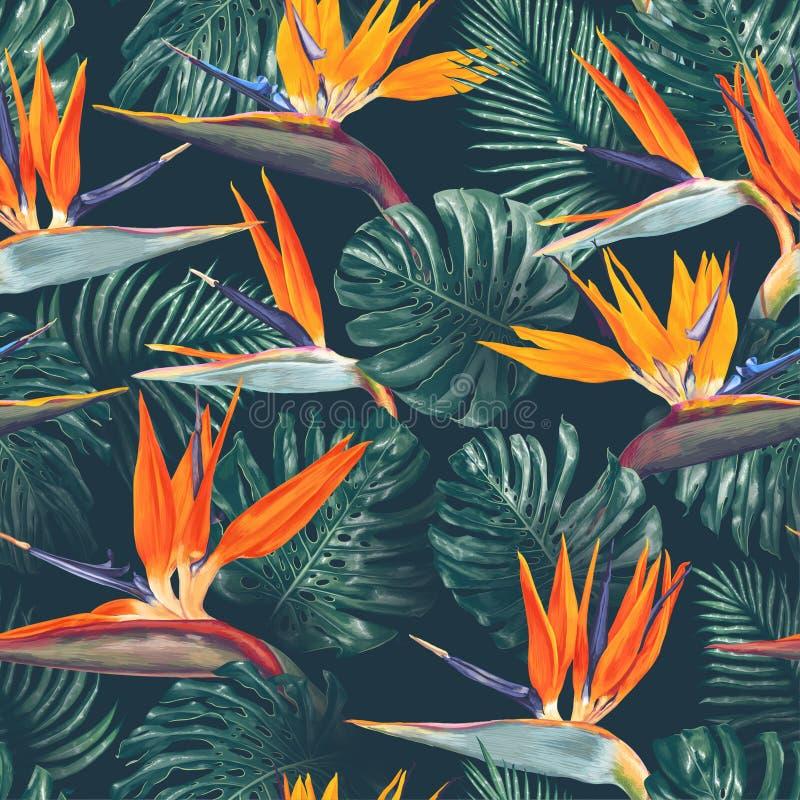 Безшовная картина с тропическими цветками и листьями Цветки Strelitzia, листья Monstera и ладони иллюстрация вектора