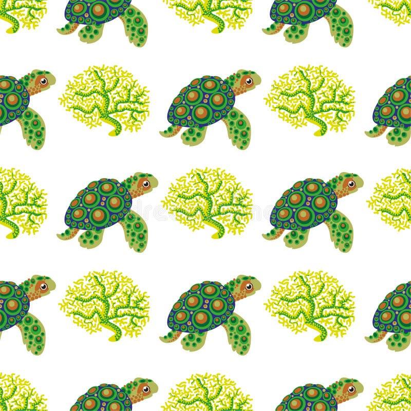 Безшовная картина с тропическими черепахой и кораллом иллюстрация штока