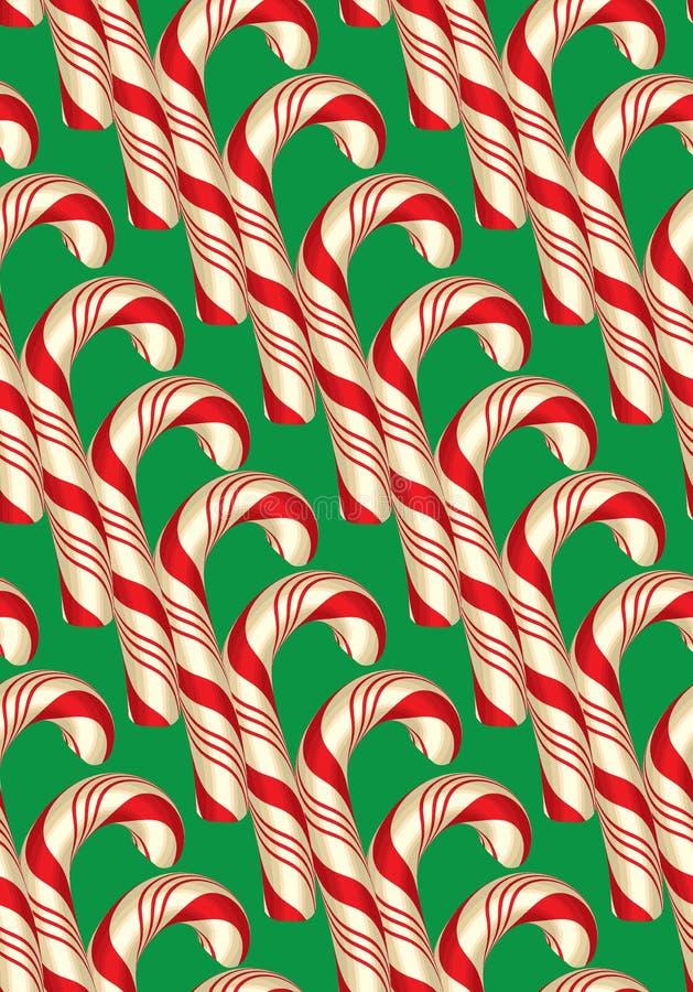 Безшовная картина с тросточками, рождеством и Новым Годом конфеты иллюстрация штока