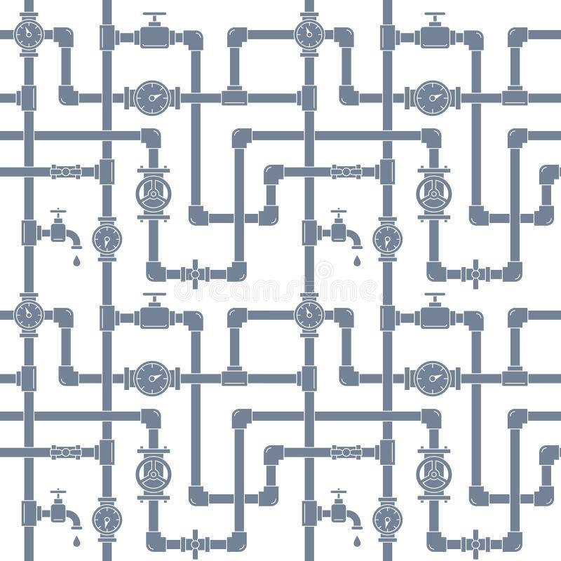 Безшовная картина с трубами, кранами и счетчиками воды иллюстрация штока