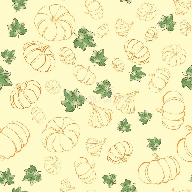 Безшовная картина с тыквой и листьями Обои осени стоковое фото