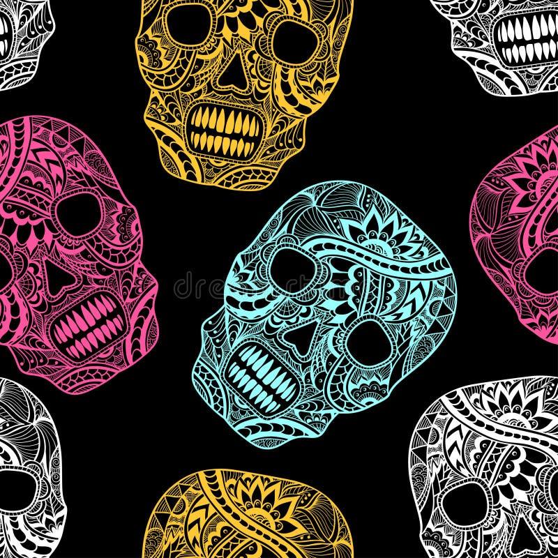 Безшовная картина с украшает покрашенные черепом цвета орнамента полные на черноте иллюстрация вектора