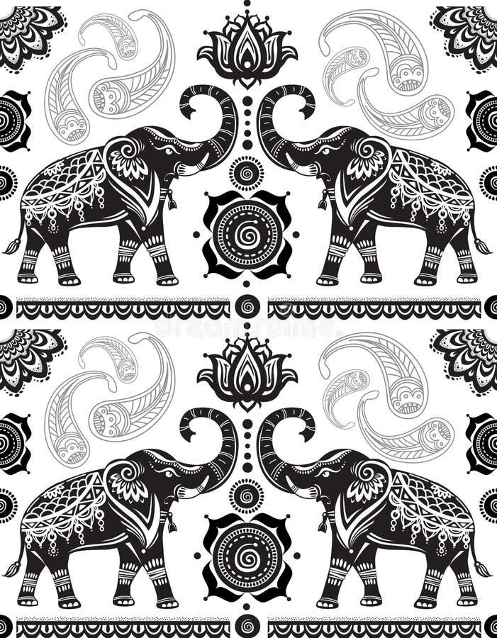 Безшовная картина с украшенными слонами иллюстрация вектора