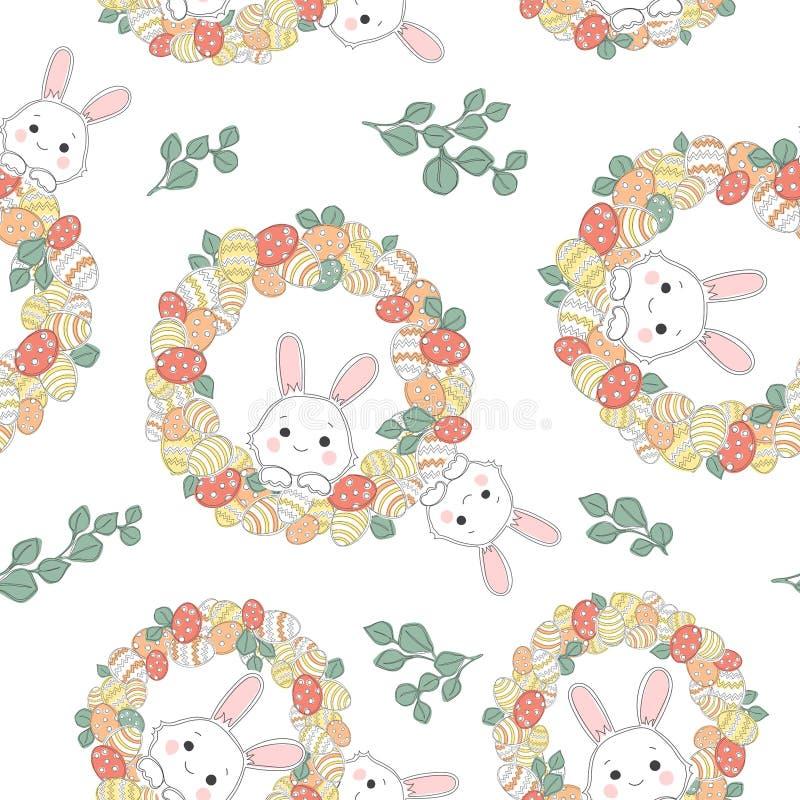 Безшовная картина с украшенными яйцами и красивым венком пасхи бесплатная иллюстрация